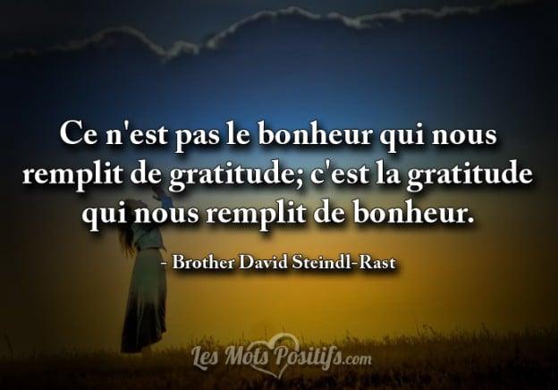 La gratitude nous remplit de bonheur