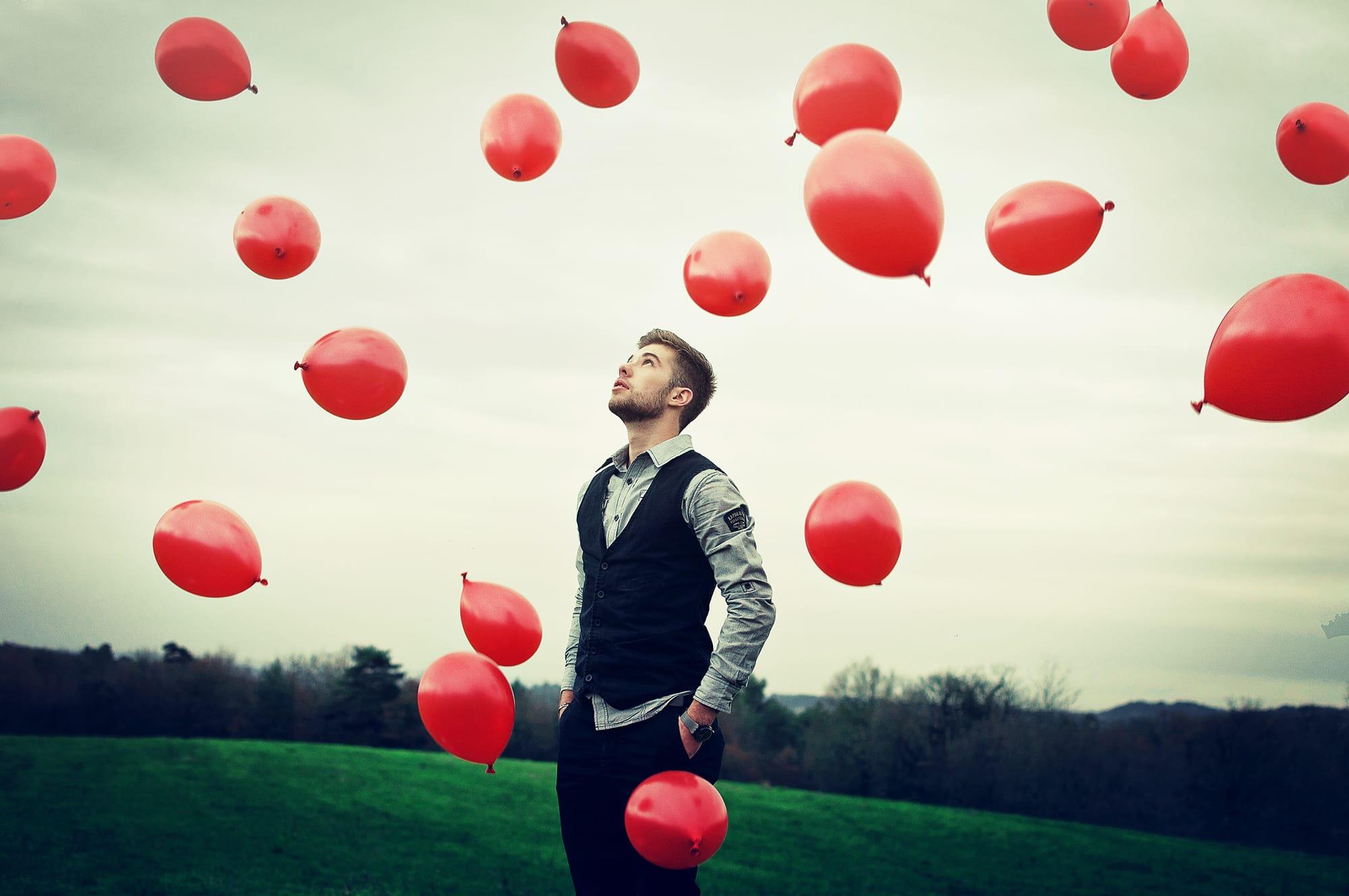 man-balloons