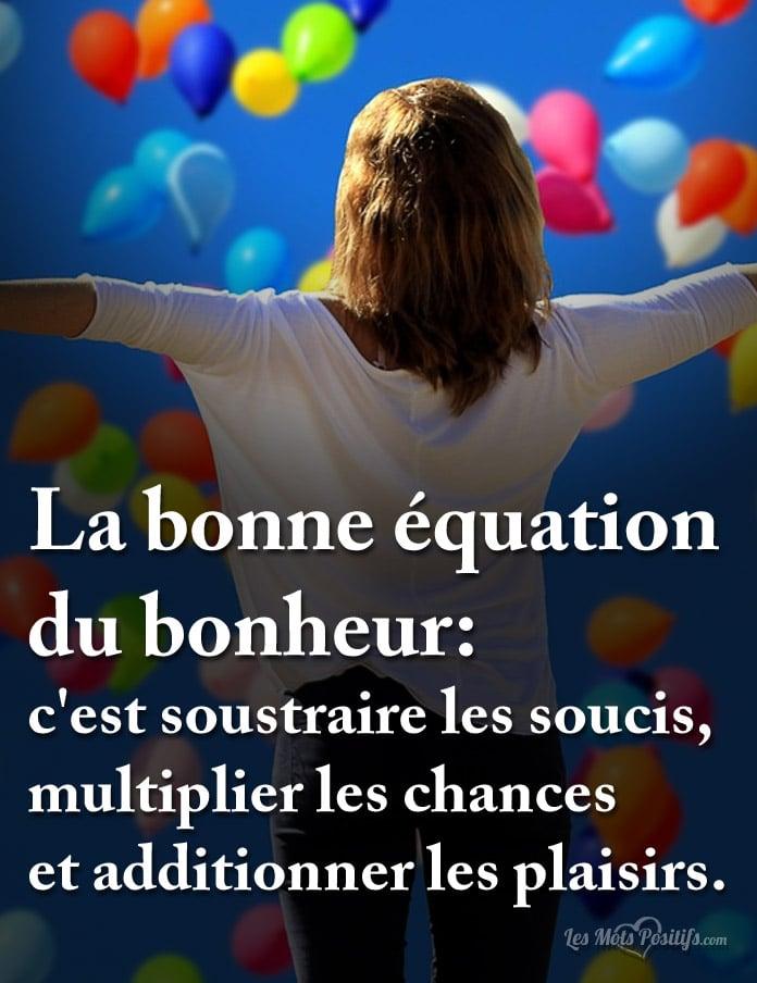 Citation La bonne équation du bonheur