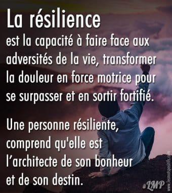 La résilience est la capacité à faire face aux adversités de la vie