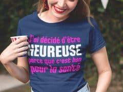 Tee-shirt sur le bonheur pour femme