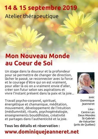 14 & 15 septembre 2019 près de Québec : Atelier « Mon Nouveau Monde »